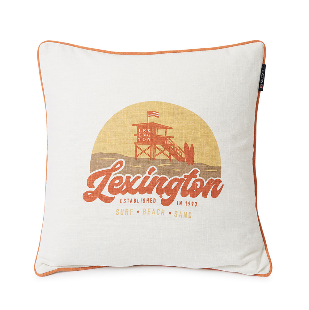 Lexington Surf Beach Logo Cotton Canvas prydnadskudde