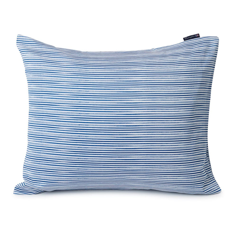 Lexington Blue Striped Organic Cotton Sateen Örngott